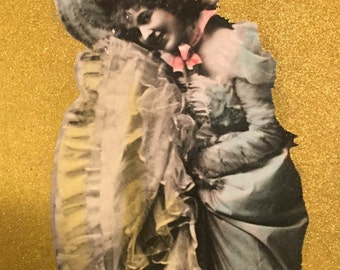Vintage Antique 1905 glitter real photo lady postcard unused flowers dancing
