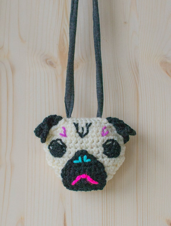 Disco Pug Crocheted Necklace