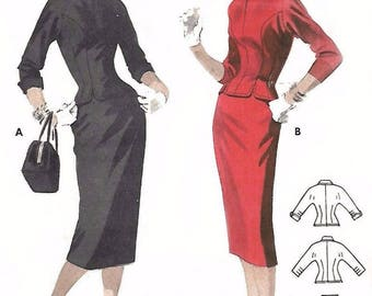 Vintage 1950's Sewing Pattern Peter Pan Blouse Wiggle Pencil Skirt two Piece Dress B 34""