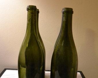 Antique Green Champagne Bottles, Set of 4
