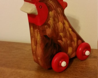 Wooden Rolling Rooster