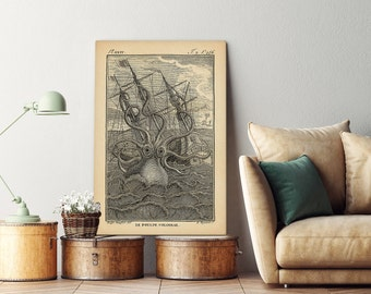 Giant octopus wall art on canvas, Giant Octopus print, Octopus poster, Octopus beach print, Octopus decor, Octopus wall art, Wall art