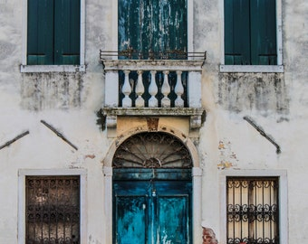 "Italy Photography, Venice, Architecture, Travel Photography, Europe, Color, ""Vintage Blue Door"", 8x12, 12x18"