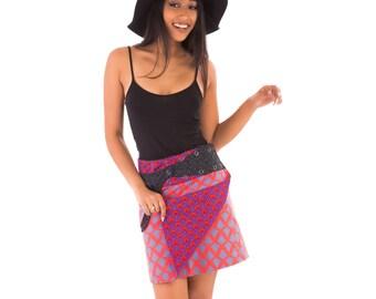 Reversible Cotton Skirt Purple Red Black Blue Print with Detachable Pocket Medium Length