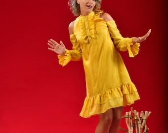Dare Dress (Silk Ruffled A-line Dress)