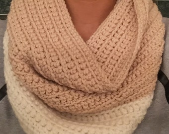 White and Beige Infinity Crochet Scarf