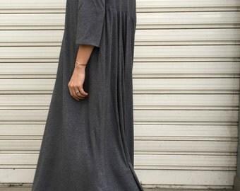 "Maxi Women Caftan / Long Jersey Dress / Oversize Black Dress / Loose Maxi Caftan - ""FF Candy"""
