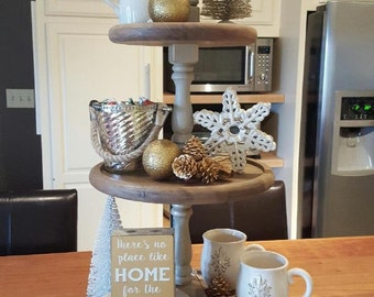 3 Tier Display Stand  Pine Wood Cupcake Pedestal finished in whitewash