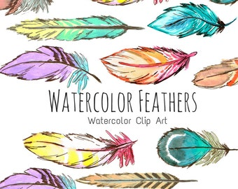 Boho Watercolor Art, Watercolor Feathers Clip Art - Tribal Feather Clip Art