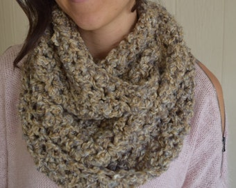 Crochet Brown and Gray Infinity Scarf