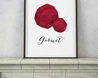 Garnet Specimen - Crystal Chakra Wall Art - Red Ombré Watercolor - Abstract Modern Wall Decor - PRINTABLE digital art - INSTANT DOWNLOAD