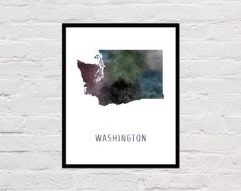 Washington Map Print, Washington State Map, Washington Art Print, Washington Printable, Watercolor Map, Washington Poster, Printable Map,