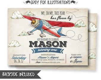 Plane Invitation, Airplane Invitation, Vintage Plane Invitation, Vintage Airplane Invitation, Airplane Party, Birthday, Printables, Digital