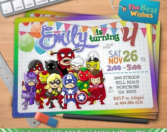 Superheroes Invitation, Avengers Birthday Party, Cartoon, Personalized, Printable, Ballpoint Pen Drawing On Grid Paper, Digital File