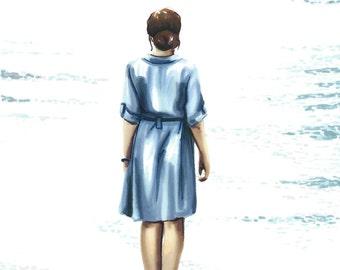 Beyond the sea - Art drawing portrait print illustration