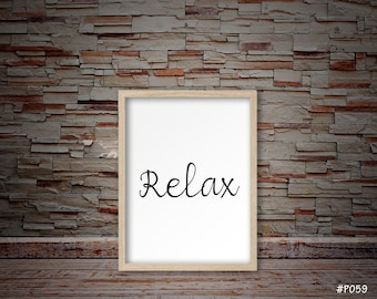 Relax sign print, relax print, relax typography print, nursery print, nursery home decor, nursery decor, typography print #P059