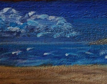 It Was A Dark And Stormy Day - An Original Acrylic Painting on Wooden Fence - Part of the Hurricane Matthew - The Through The Fence Series