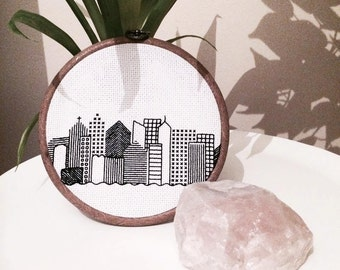 "Handmade 6"" City Skyline Cross Stitch Embroidery Wall Hanging"