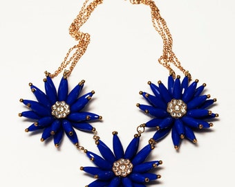 Chunky Royal Blue Large Flower Statement Bib Necklace