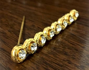 1920s Vintage Rhinestone Brooch Gleaming Gold-Filled Bar Pin With 8 Big Crystals Shimmer in a Dazzlingly Ornate Art Deco Vintage Brooch