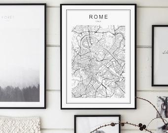 Rome Map Print, Rome Map, Rome Map Poster, Rome Print, Rome City, Rome Italy Map, Rome Wall Art, Black and White Map, Italy Map, Italy, Rome