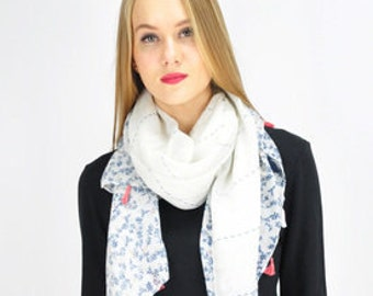 Floral Tassel White Scarf / Spring Summer Scarf / Autumn Scarf / Womens Scarf / Gift for her / Fashion Accessories