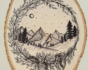 Wood Slice with Ink Drawing