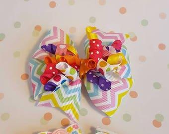 Corker ribbon hair bow, Corker ribbon hair clip, Rainbow hair bow, Rainbow hair clip, Corker ribbon hair clip, Birthday hair bow, Girl gift