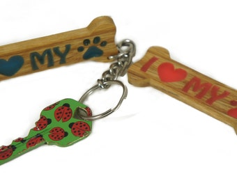 I love my Dog Key Chain, Glow in the Dark, Natural Wood,Cute, Stylish, Present for Him, Present for Her, Unique , Made in the USA