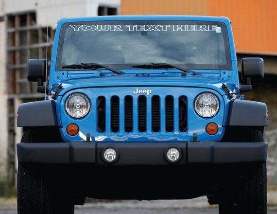 custom text windshield vinyl decal sticker jeep. Black Bedroom Furniture Sets. Home Design Ideas