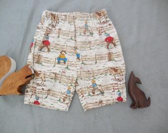 Cowboy print shorts, size 1-2 years