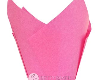 Hot Pink Tulip Muffin Wraps - Great Alternative to Cupcake Cases - Birthday - Kids Party. Pack of 24.