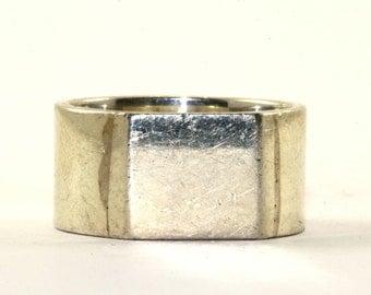 Vintage Square Front Band Signet Ring 925 Sterling Silver RG 1152