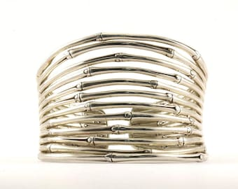 John Hardy Concave Bamboo Cuff Bracelet Sterling Silver BR 33