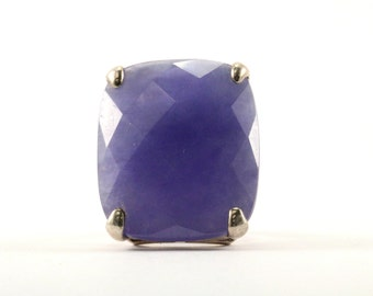 Vintage Large Rectangular Chalcedony Ring 925 Sterling Silver RG 949-E