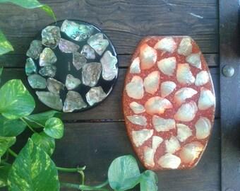 Vintage seashell trivet, seashell tray