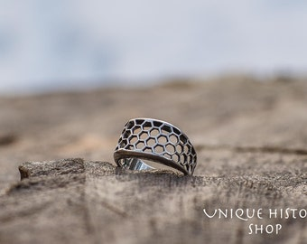 Bee Honeycomb Ring Handmade Sterling Silver Unique Jewelry