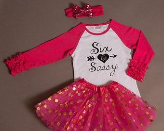 6th Birthday girl Outfit ruffles and polka dot tutu, sixth birthday outfit tutu and ruffles