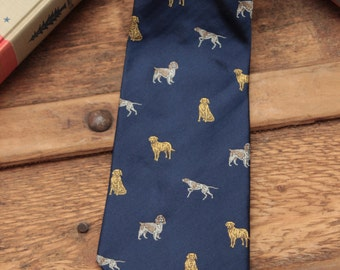 Vintage Hunting Dogs English Silk Animal Print Tie made by Cordings, ~1980's