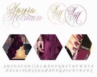 Branding Package, Branding Kit, Purple and Gold Logo, Calligraphy Logo, Luxurious Logo, Blog Branding Logo, Photography Logo, Business Logo