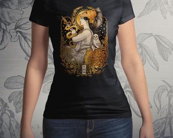 PALLAS ATHENA T-shirt - Art Nouveau Greek Goddess printed in U.S.A Tshirt men women clothing mythology neopagan pagan Medusa Dollmaker