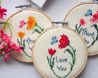 Custom avaliable! -Messages - Flowers with butterfly - cross stitch - embroidery art -best gift for yourself /family / friends