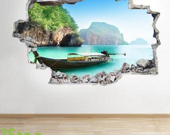 Thailand Beach Boat Wall Sticker 3d Look - Ocean Sea Beach Bedroom Lounge Z59