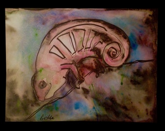 Ink and Bleach artwork of a Cut Chameleon