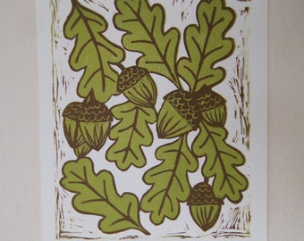 Acorns & Oak Leaves Handprinted Lino Print