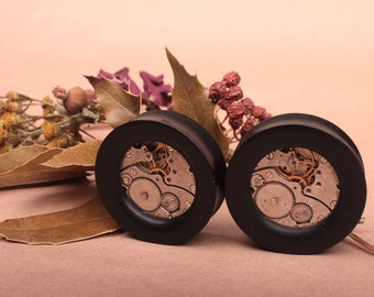 wood plugs - plugs with machinery inlay - machinery plugs - ear plugs - ear tunnels - organic plugs - organic gauges - exclusive plugs