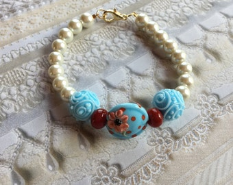 Blue with Red Polka Dots and White Faux Pearl Bracelet, Lampwork Jewelry, SRA Lampwork Bead Bracelet, Mothers Day Gift, Gift For Her