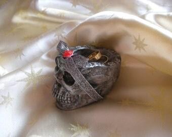 gothic wedding ring skull ring bearer engagement ring holder pillow til death do us part halloween