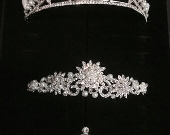wedding pearl tiara, bride hairpiece crown, flower