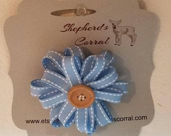 Handmade girls button and bow barrett/ girls hair barrett/girls blue hair accessory/girls light blue and white ribbon with wooden button bow